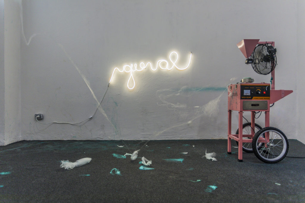 Giuseppina Giordano, POLLINATION (I love you), 2018 / cotton candy machine, sugar, Arduino, solenoid valve, lighted sign / enviromental dimension / hardware realization by Geppetto Lab