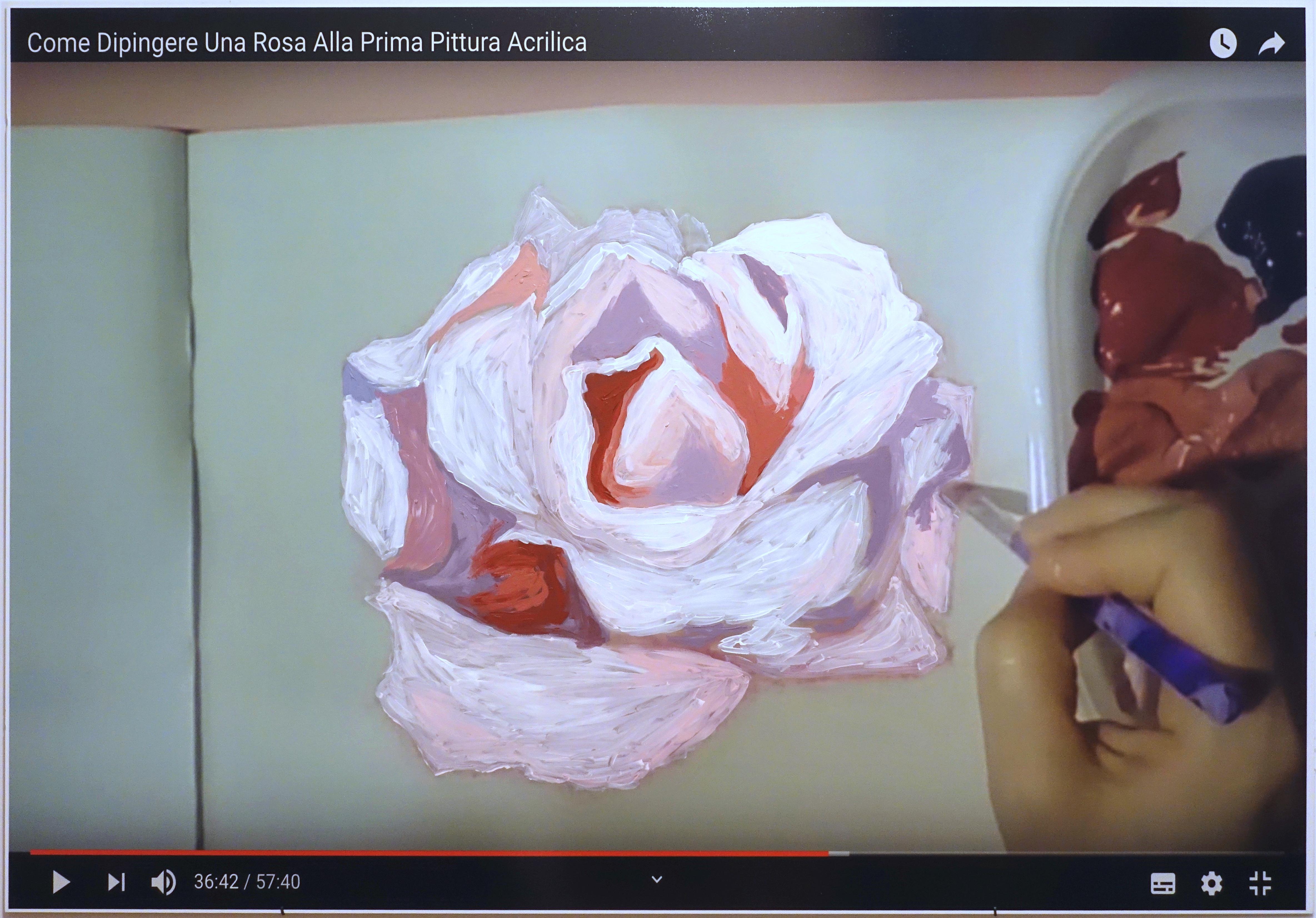 Giuseppina Giordano, www.youtube.com/watch?v=dXkEED6hIkY (How to paint a rose, tutorial 2), 2019acrylic paint on printed pvc / 100x140x1cm