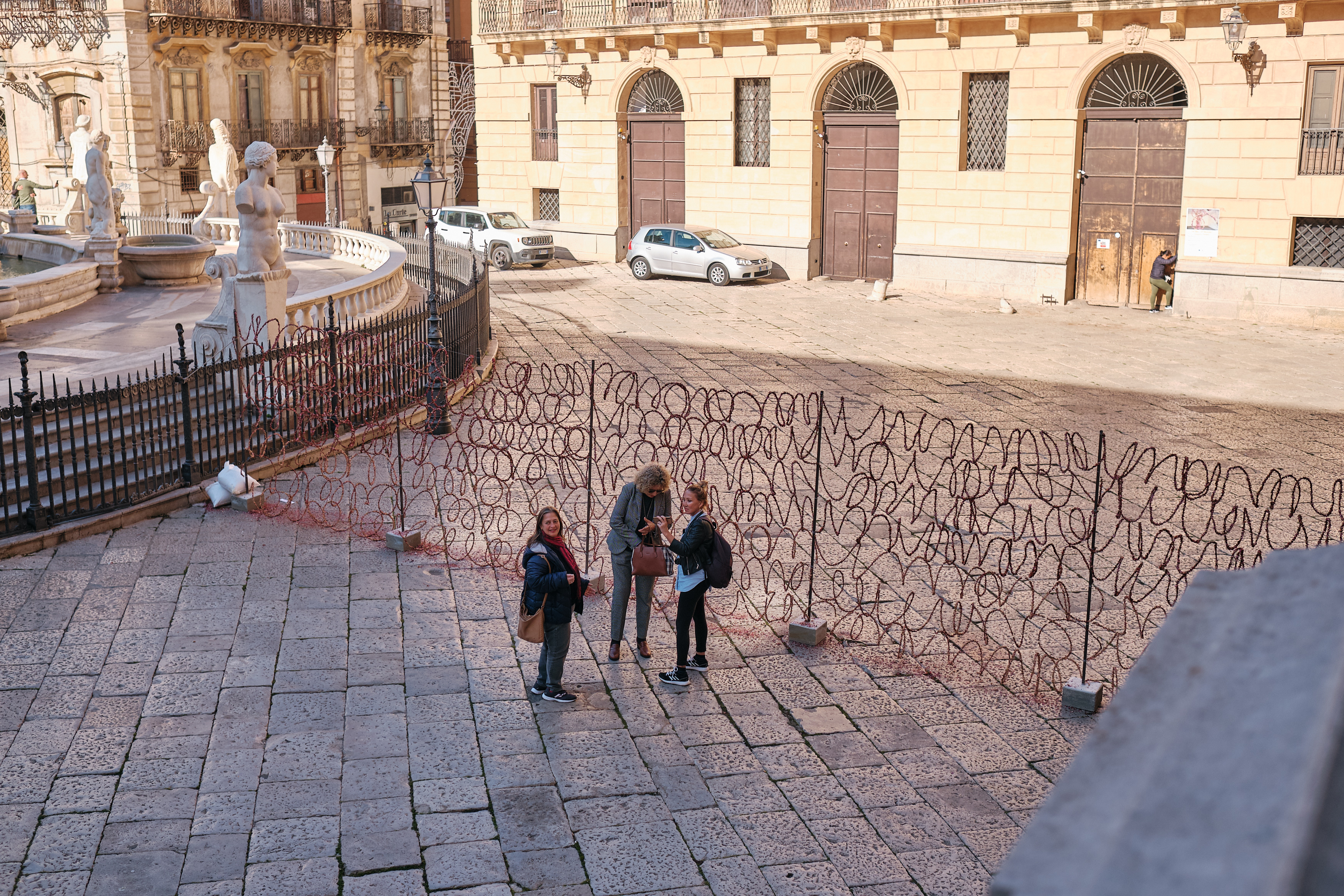 Giuseppina Giordano, THE WALL OF DELICACY, installation's view, Piazza Pretoria, Palermo, Italy / BAM Festival / ph: Dimity Codryan