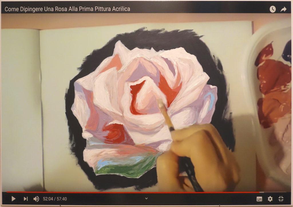 Giuseppina Giordano, www.youtube.com/watch?v=dXkEED6hIkY (How to paint a rose, tutorial 1), 2019acrylic paint on printed pvc / 100x140x1cm